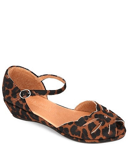 Gentle Souls Lily Moon Demi Calf Hair Leopard Print Peep Toe Wedge Sandals