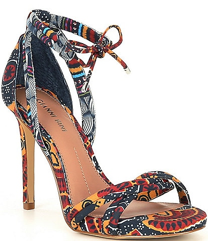 Gianni Bini Abbrie Printed Ankle Tie Sandals