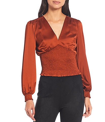 Gianni Bini Abby V-Neck Balloon Sleeve Smocked Cropped Blouse
