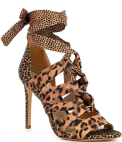 Gianni Bini Abrianna Leopard Print Ankle Wrap Lace-Up Strappy Dress Sandals