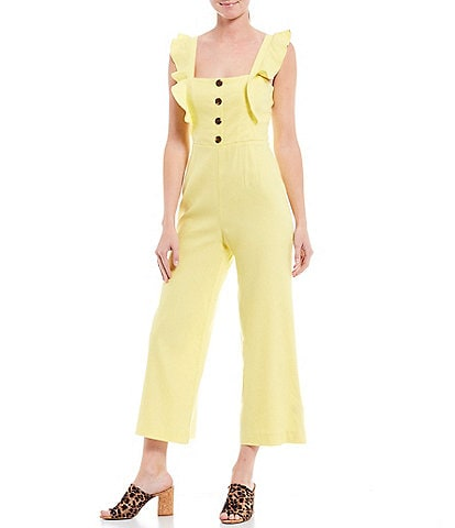 Gianni Bini Agnes Square Neck Ruffle Sleeve Button Bodice Detail Linen Blend Crop Jumpsuit
