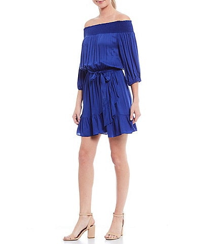 Gianni Bini Alice Off-The-Shoulder Tie Waist Ruffle Hem Dress