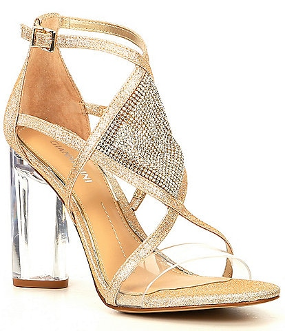 Gianni Bini Aliva Metallic Jewel Embellished Lucite-Heel Dress Sandals