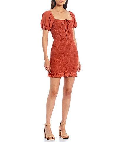 Gianni Bini Alli Smocked Short Sleeve Dress