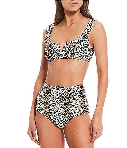 Gianni Bini Amazonia Fan Favs Ruffle V-Wire Bralette Swim Top & Shirred High Waist Swimsuit Bottom