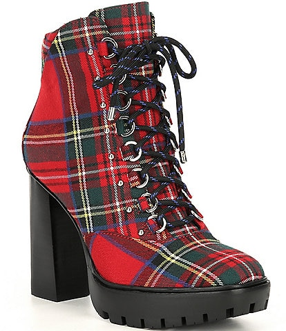 Gianni Bini Ambelynn Plaid Heeled Hiker Lug Sole Booties