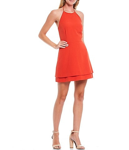 Gianni Bini Andy Halter Neck Sleeveless Layered Hem Crepe A-Line Dress