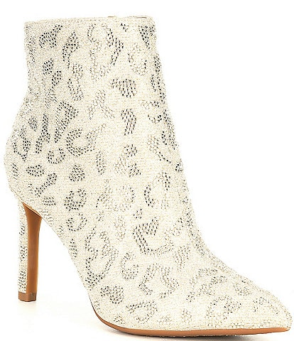 Gianni Bini AnninaTwo Leopard Sparkle Rhinestone Embellished Dress Booties