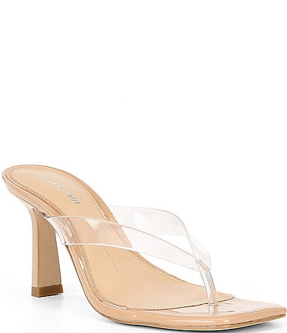 Gianni Bini Aryabella Patent Leather Clear Strap Thong Sandals
