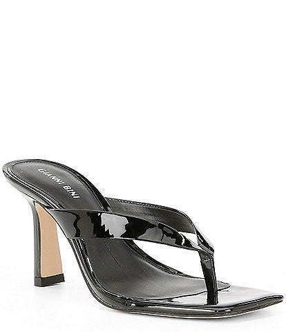 Gianni Bini Aryabella Patent Leather Square Toe Thong Sandals