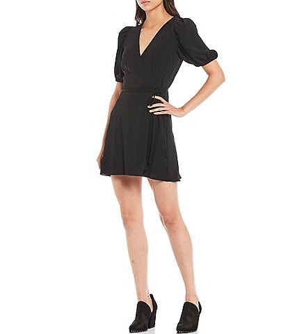 Gianni Bini Asher Satin Puff Sleeve Mini Wrap Dress