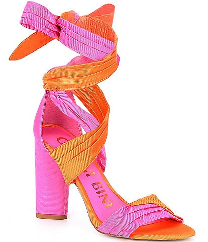 Gianni Bini Astraahh Colorblock Ankle-Wrap Bow Block Heel Sandals