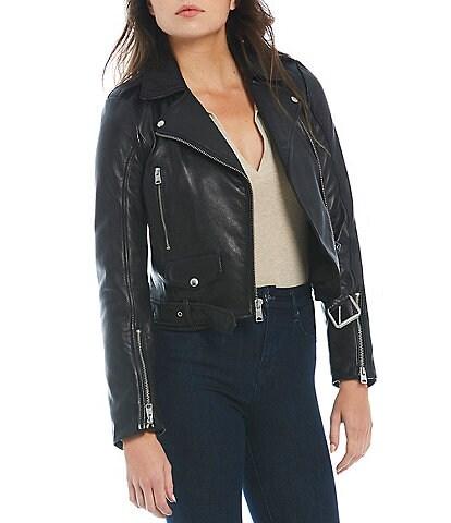 Gianni Bini Asymmetric Neck Zip Front Leather Moto Melissa Jacket