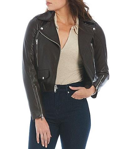 Gianni Bini Melissa Asymmetric Neck Zip Front Leather Moto Jacket