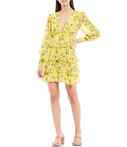Gianni Bini Audrey Floral Long Sleeve Deep V-Neck Tiered Chiffon Dress