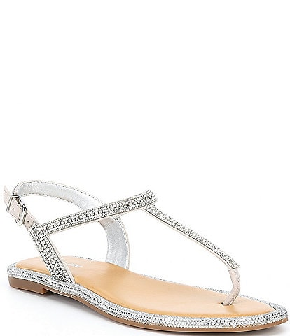 Gianni Bini Avellia Jewel Embellished T-Strap Sandals