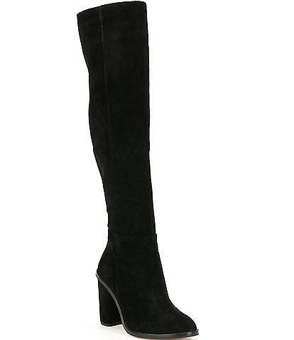 83e89638473 Gianni Bini Barrine Suede Wide Calf Over the Knee Block Heel Boots