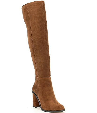 Gianni Bini Barrine Suede Wide Calf Over the Knee Block Heel Boots