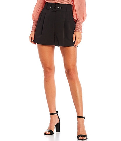 Gianni Bini Bella High Rise Crepe Suiting Belted Shorts