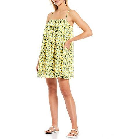 Gianni Bini Benny Lemon Print Square Neck Sleeveless Eyelet Swing Dress