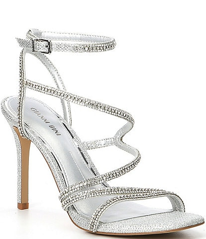 Gianni Bini Bergitte Rhinestone Embellished Cross-Strap Dress Sandals