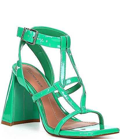 Gianni Bini Bexxlie Patent Strappy Square Toe Dress Sandals