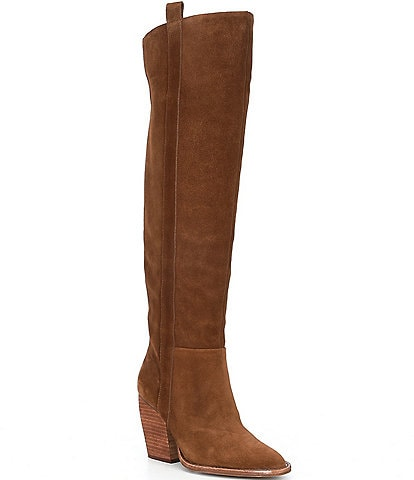 Gianni Bini Bhannks Suede Wide Calf Over-the-Knee Block Heel Boots