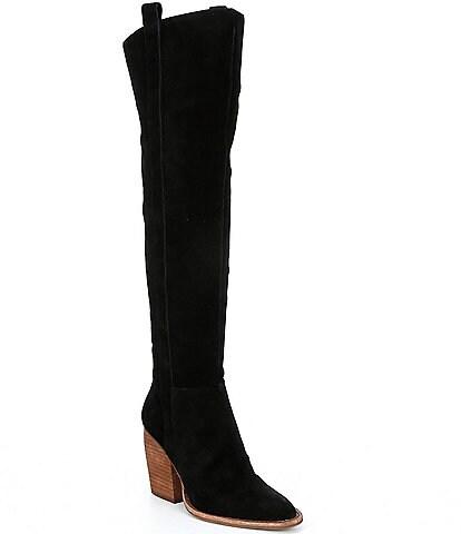 Gianni Bini Bhannks Suede Wide Calf Over-the-Knee Block Heel Boots