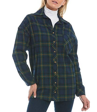 Gianni Bini Regina Blue Plaid Button Front Long Sleeve Point Collar Blouse
