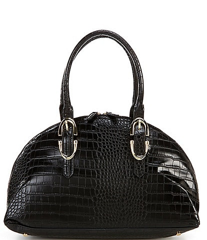 Gianni Bini Bowler Crocodile-Embossed Satchel Bag