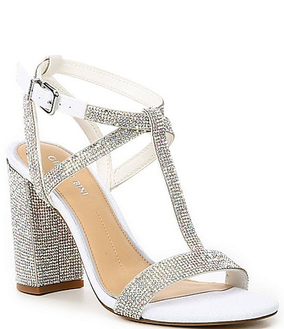 Gianni Bini Bridal Collection Brinslie Rhinestone Embellished T-Strap Dress Sandals