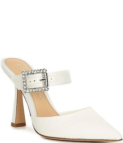 Gianni Bini Bridal Collection Maleenah Satin Jeweled Buckle Mules