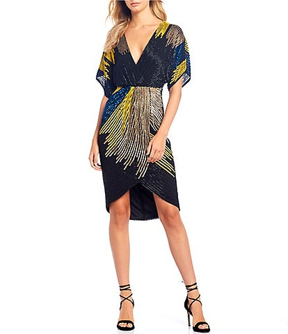 Gianni Bini Bridget Beaded Sequin Colorblock Asymmetrical Dolman Sleeve Hi-Low A-Line Dress