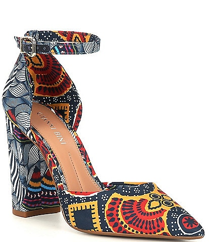 Gianni Bini Bronlynn Tribal Print Ankle Strap Pumps