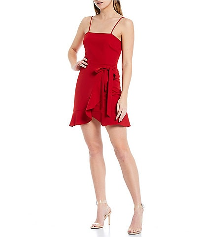 Gianni Bini Cam Square Neck Sleeveless Tie Waist Crepe Mini Dress