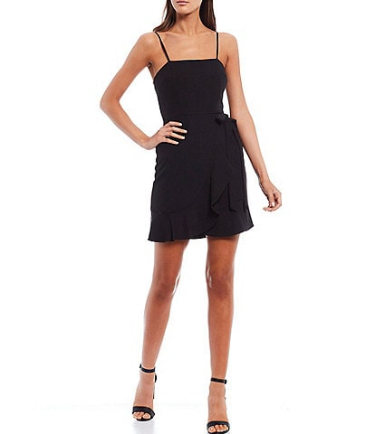 Gianni Bini Cam Square Neck Sleeveless Tie Waist Ruffle Hem Crepe Mini Dress