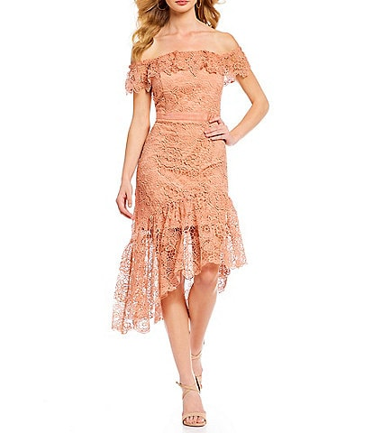 Gianni Bini Carly Lace Off-The-Shoulder Asymmetrical Dress