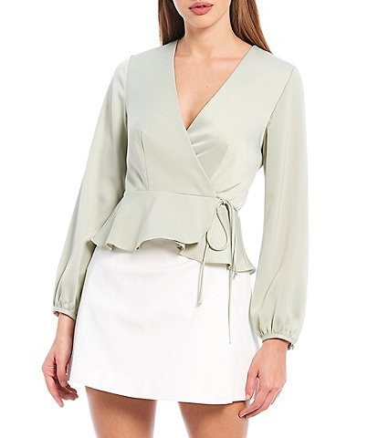 Gianni Bini Carrie Long Sleeve V-Neck Wrap Top