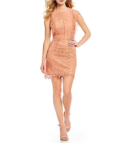 Gianni Bini Cassie Flutter Sleeve Lace Mini Dress