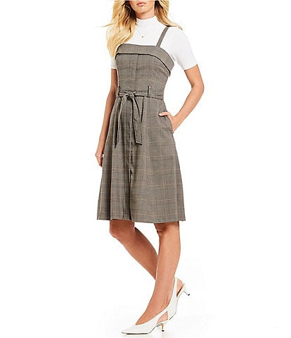Gianni Bini Cindy Button Front Belted Menswear Plaid A-Line Dress