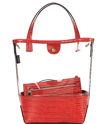 Gianni Bini Clear Crocodile-Embossed Tote Bag