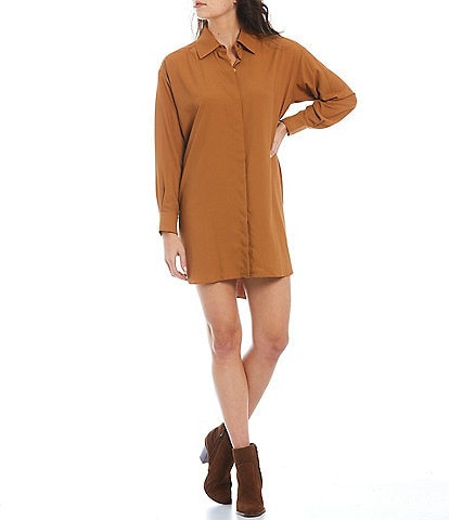 Gianni Bini Collared Button Up Long Sleeve Mini Shirt Dress