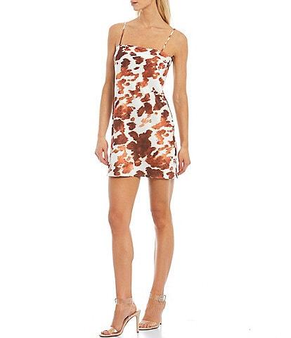Gianni Bini Cow Print Square Neck Sleeveless Mini Dress