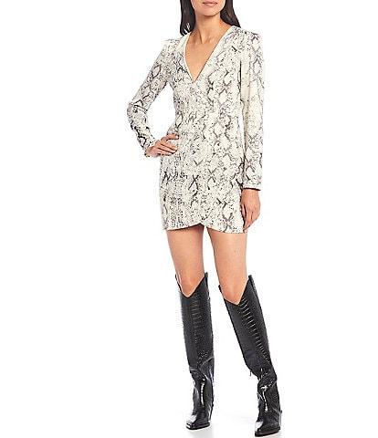 Gianni Bini Dani Snake Print Satin Long Sleeve V-Neck Mini Dress