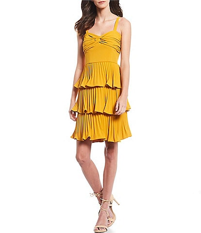 Gianni Bini Danica Tiered Ruffle Sweetheart Neck Pleated Satin Dress