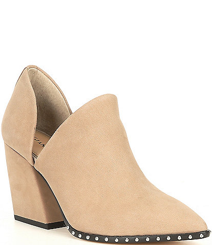 Gianni Bini Danyellaa Leather Stud Block Heel Western Ankle Booties