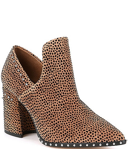 Gianni Bini Daveigh Cheetah Print Suede Studded Western Block Heel Booties