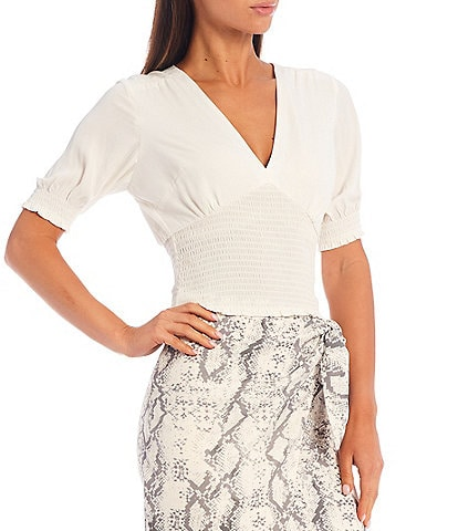 Gianni Bini Delia Short Puff Sleeve Smocked Top
