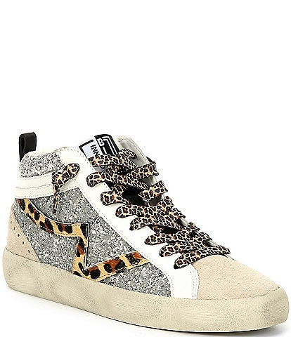 Gianni Bini Elleinaa Suede Animal Print High Top Sneakers