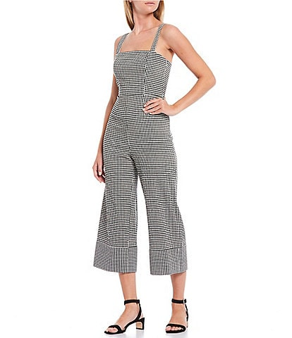 Gianni Bini Ellie Gingham Square Neck Sleeveless Cropped Jumpsuit